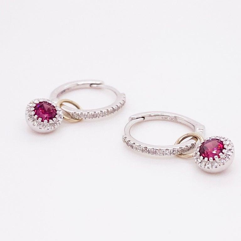 Modern Garnet Diamond Earring Charms, Red Garnet, 14 Karat Gold, Hoop Charm, .79 Carat For Sale