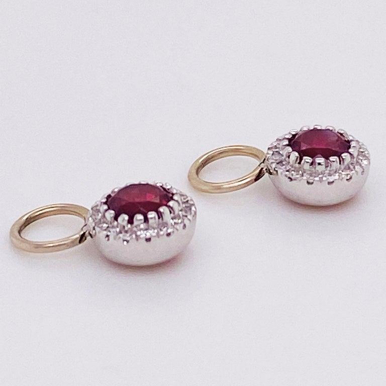 Garnet Diamond Earring Charms, Red Garnet, 14 Karat Gold, Hoop Charm, .79 Carat In New Condition For Sale In Austin, TX