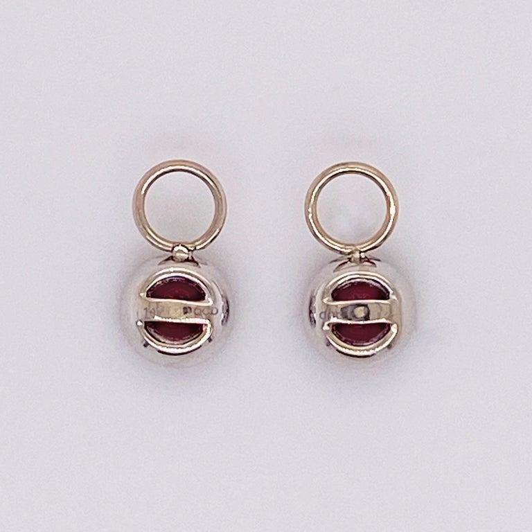 Women's Garnet Diamond Earring Charms, Red Garnet, 14 Karat Gold, Hoop Charm, .79 Carat For Sale