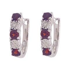 Garnet Diamond Earrings Hoops, Rhodium Huggie Earrings, One Pair in Sterling