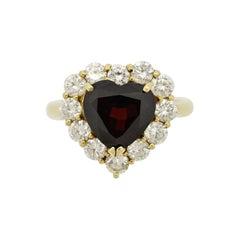 Garnet Diamond Halo Gold Heart Ring