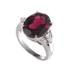 Garnet Diamond Platinum Cocktail Ring