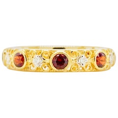 Garnet Diamond Ring, 14 Karat Gold Filigree Garnet and Diamond Band, 1.00 Carat