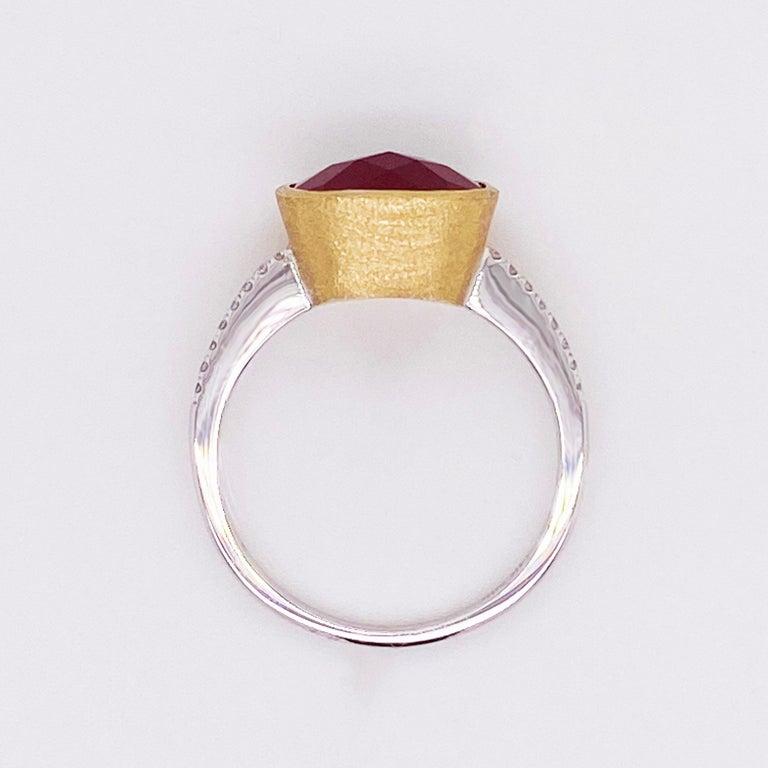 Modern Garnet Diamond Ring, Red Garnet, Mixed Metal, 14k White and Yellow Gold, Satin For Sale