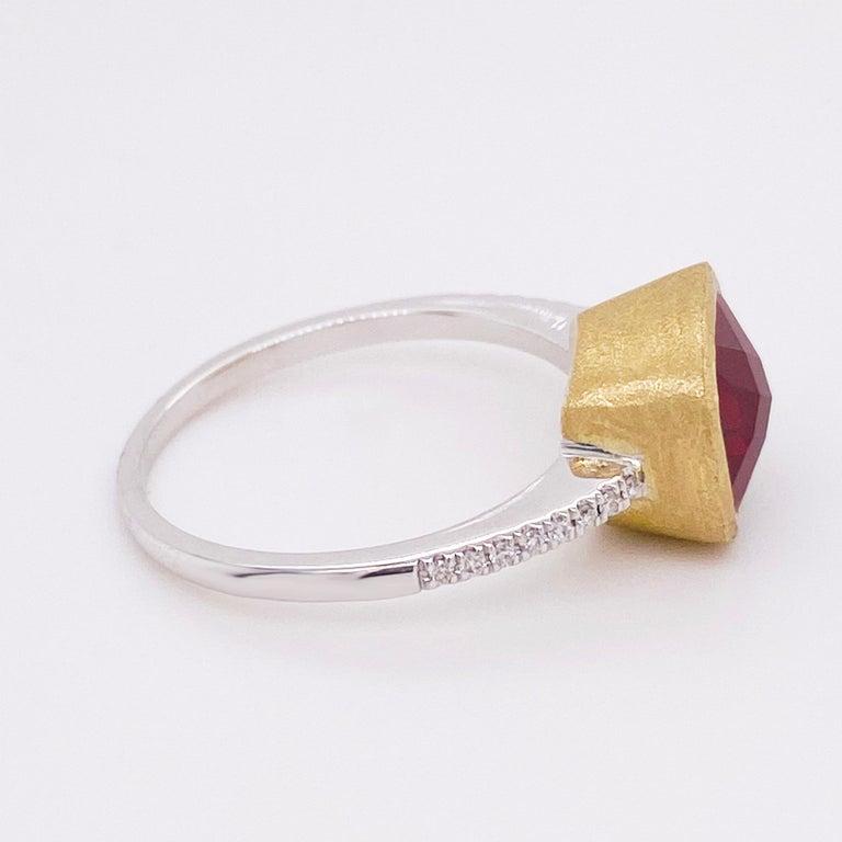 Cushion Cut Garnet Diamond Ring, Red Garnet, Mixed Metal, 14k White and Yellow Gold, Satin For Sale