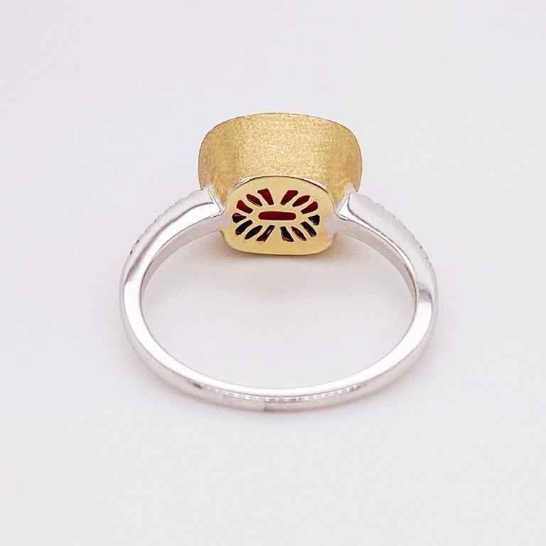 Garnet Diamond Ring, Red Garnet, Mixed Metal, 14k White and Yellow Gold, Satin In New Condition For Sale In Austin, TX