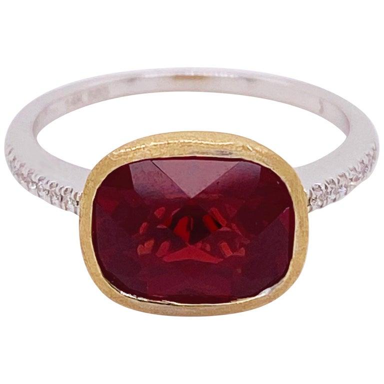 Garnet Diamond Ring, Red Garnet, Mixed Metal, 14k White and Yellow Gold, Satin For Sale