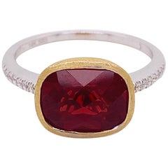 Garnet Diamond Ring, Red Garnet, Mixed Metal, 14k White and Yellow Gold, Satin