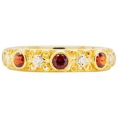Garnet Diamond Ring, Spencer Gold Filigree Garnet and Diamond Band, 1.00 Carat