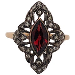 Garnet Diamond Rose Gold Ladies Antique Ring