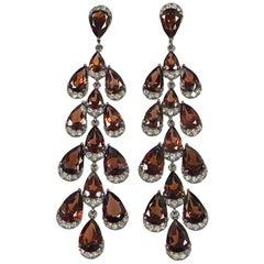 Garnet Diamond Silver and Gold Large Impressive Chandelier Earrings