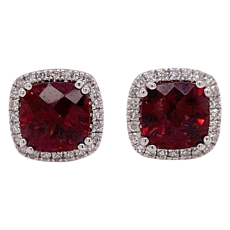 Garnet Diamond Studs Earrings, 2.50 Halo of Diamonds, White Gold, Cushion Garnet