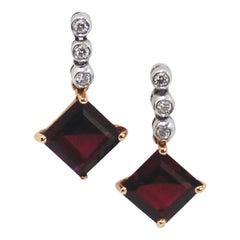 Garnet Diamond Two-Tone 18 Karat Gold Earrings