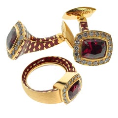 Garnet Diamonds 18 Karat Yellow Gold Male Enamel Ring and Cufflinks Suite