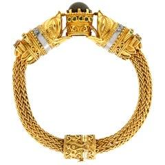 Garnet Diamonds Emerald and Sapphire Bangle Bracelet