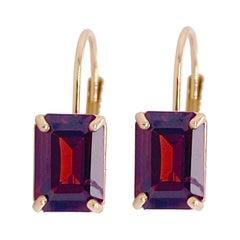 Garnet Drop Earrings, 1 Carat Garnet Leverback Yellow Gold Dangle Earrings