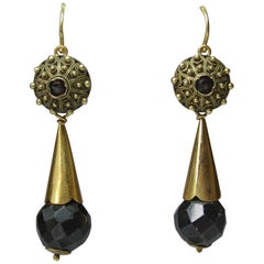 Garnet Earrings Day To Night Gold Etruscan Revival 1860 Victorian Museum Quality