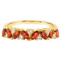 Garnet Ring, Garnet Ring 14 Karat Gold, Diamond Cluster Ring, Anniversary