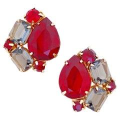 Garnet & Gray Rhinestone Earrings, 1960s