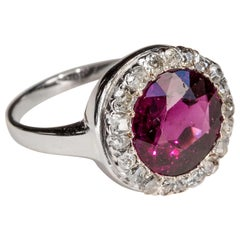Garnet Halo Ring Early Art Deco