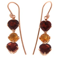 Garnet Heart Cut Citrine Rose Cut 9 Karat Rose Gold Earrings Made in Italy