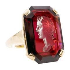 Garnet Intaglio Ring of Young Dionysus the Wine God in Retro Setting