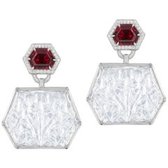 Garnet Octagon with Moon Quartz Carved Earrings
