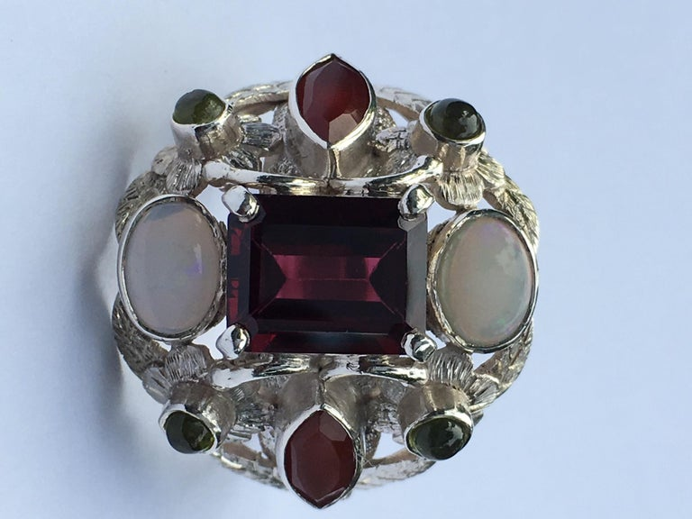 Garnet, Opal, Carnelian and Peridot Cocktail Ring For Sale 2