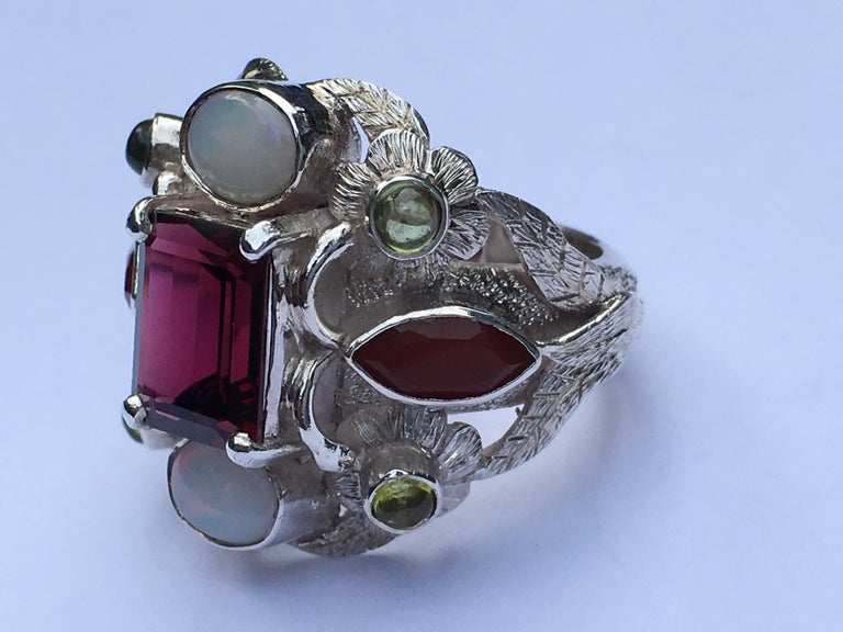 Garnet, Opal, Carnelian and Peridot Cocktail Ring For Sale 3