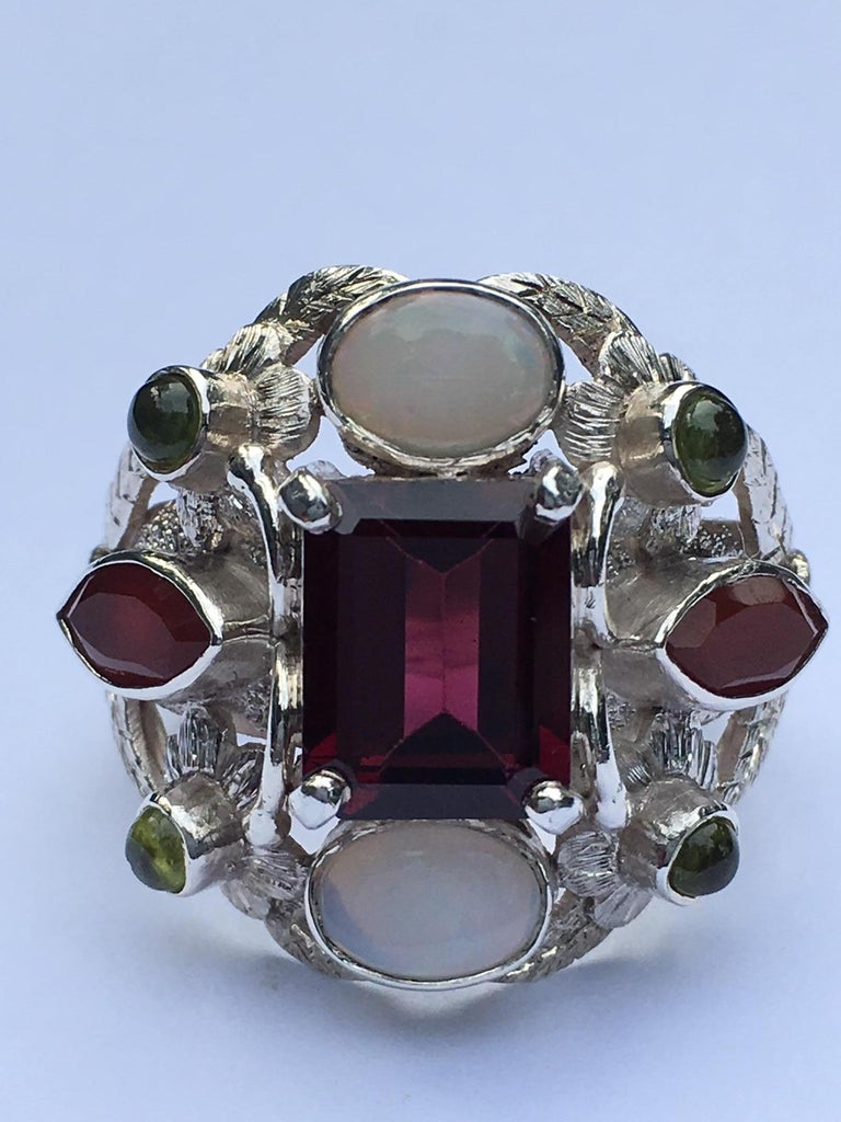 Garnet, Opal, Carnelian and Peridot Cocktail Ring For Sale 4