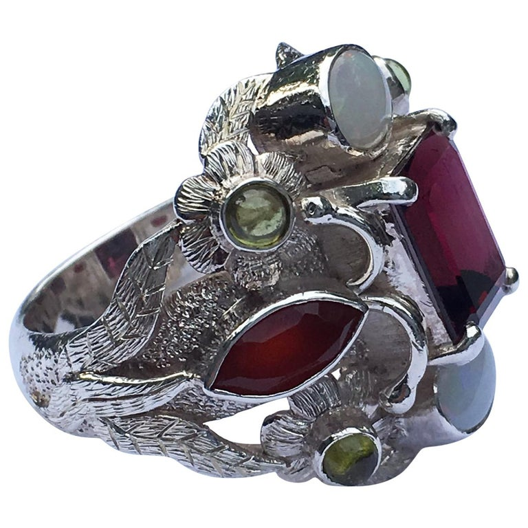 Garnet, Opal, Carnelian and Peridot Cocktail Ring For Sale