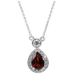 Garnet Pear White Round Diamond Halo 14 Karat Gold Drop Pendant Chain Necklace