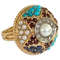 Garnet, Pearl, Turquoise, Sapphire, Ruby and Diamond 18 Karat Yellow Gold Ring
