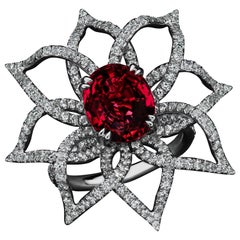 JAG New York Garnet and Diamond Platinum Ring