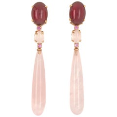 Garnet, Pink Topaz, Pink Quartz on Pink Gold 18 Karat Chandelier Earrings