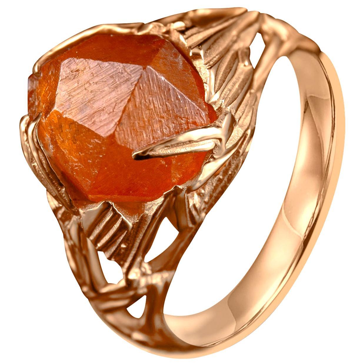 Garnet Ring Gold Raw Crystal 14K Mens Unisex Ring Spessartine Christmas Gift Art