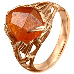 Garnet Ring Gold Raw Crystal 14K Mens Unisex Ring Spessartine Christmas Gift Art