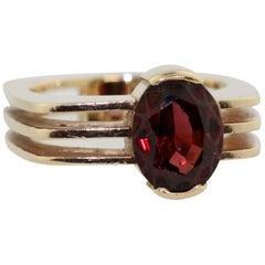 Garnet Ring Mounted in 14 Karat Yellow Gold