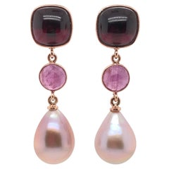 Garnet Ruby with Pearls on Rose Gold 18 Karat Earrings