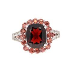 Garnet Sapphire 14 Karat White Gold Ring