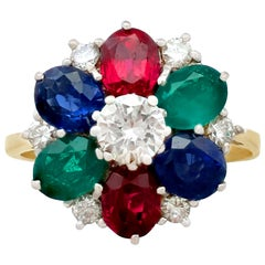 Garnet, Sapphire, Emerald and Diamond Cluster Ring