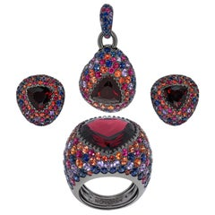 Garnet Sapphires Rubies Black 18 Karat Gold Riviera Suite