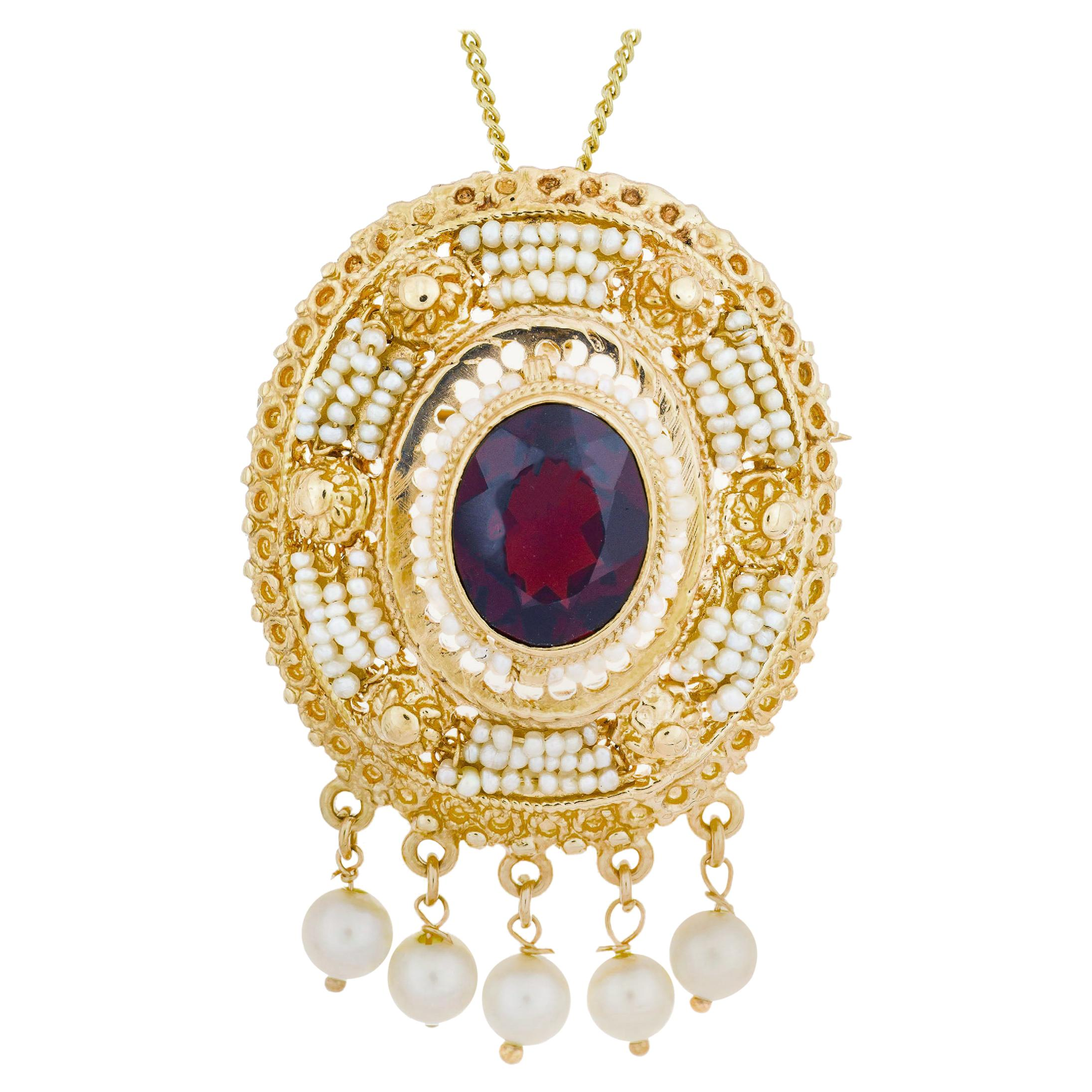 Garnet Seed Pearl Yellow Gold Pendant Brooch Pendant Necklace