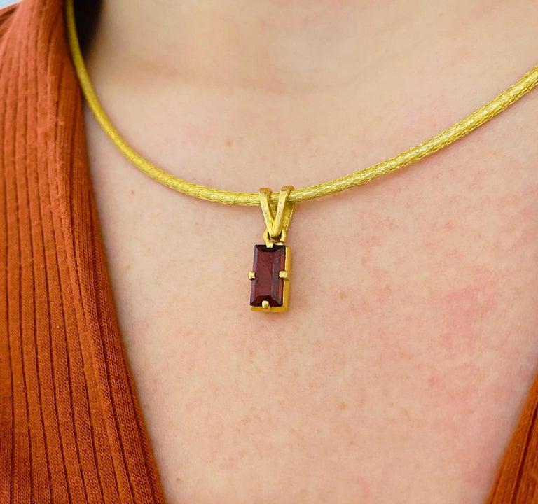 Modern Garnet Silk Necklace, 18k Gold Drop Garnet Pendant, Brazil, Emerald Cut, Red Gem For Sale