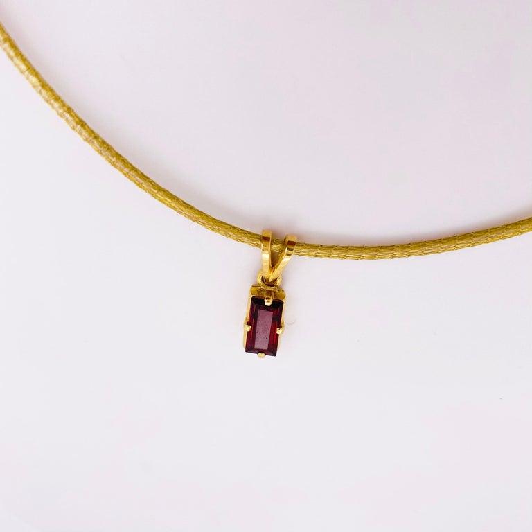 Garnet Silk Necklace, 18k Gold Drop Garnet Pendant, Brazil, Emerald Cut, Red Gem In New Condition For Sale In Austin, TX