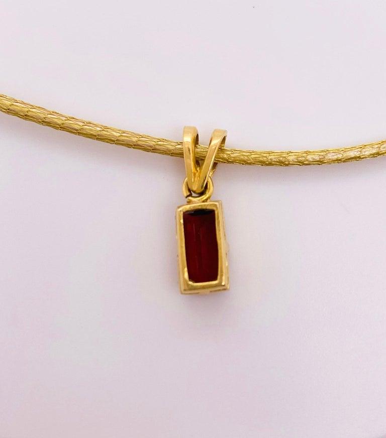 Women's Garnet Silk Necklace, 18k Gold Drop Garnet Pendant, Brazil, Emerald Cut, Red Gem For Sale