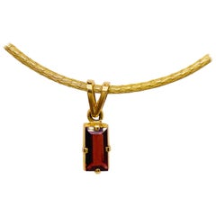 Garnet Silk Necklace, 18k Gold Drop Garnet Pendant, Brazil, Emerald Cut, Red Gem