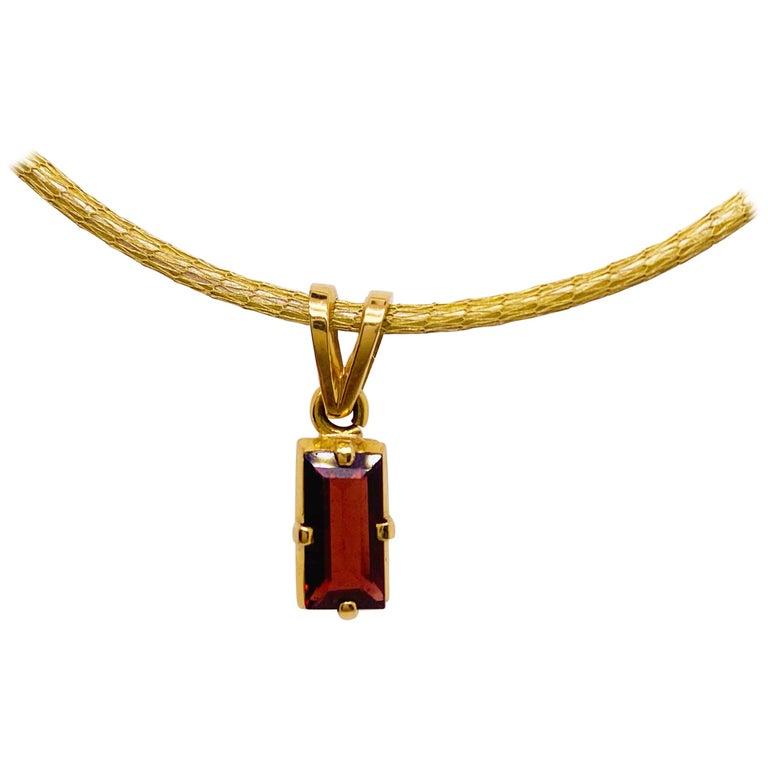 Garnet Silk Necklace, 18k Gold Drop Garnet Pendant, Brazil, Emerald Cut, Red Gem For Sale