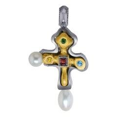 Garnet Topaz Citrine Pearl Sterling Silver Gold Platinum Cross Pendant