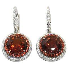 Garnet with Orange Sapphire and Diamond Earrings Set in 18 Karat